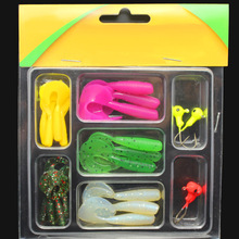 Fishing Soft worm lead head hook + soft lures worm blister packaging multicolor fishing lure Kit