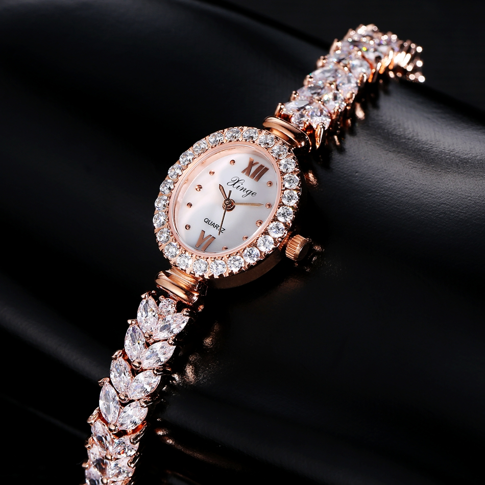 Xinge Luxury Women Rose Gold Watches Women Crystal Bracelet Watch Business Quartz Wristwatches Ladies Dress Fashion Wrist Watch 2016 luxury brand ladies quartz fashion new geneva watches women dress wristwatches rose gold bracelet watch free shipping