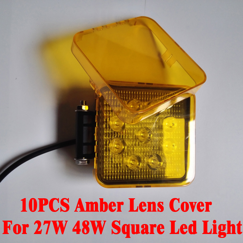 10pcs Amber Lens Cover Dust Proof Protector for 4 inch 27W 48W Square Led Work Light