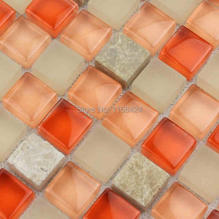 orange rojo gris mezclado mosaico de piedra de cristal cuadrada para el azulejo de la cocina
