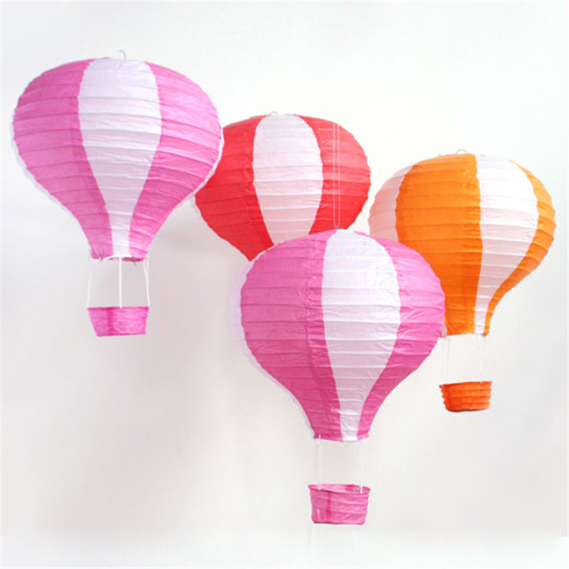 5pcs/lot 40cm Largest Hot Air Balloon 9 Matching Stripe Painting Paper Washing Lantern Hanging Pendants for Garden Home Birthday