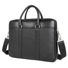Leather Briefcases Men Office Handbag Lawyer Portable Laptop Bag 7400A