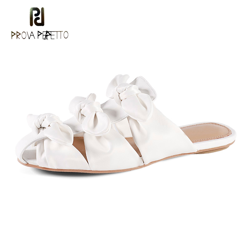 Prova Perfetto new arrival luxury silk bowtie slipper females outside wear flat heel mules shoes sandal soft leather lady slides
