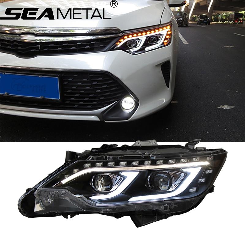 цена на Car Headlight For Toyota Camry 2015 2016 LED DRL+High Beam Light+Reverse Light External Lights Head lights Assembly Auto Lamp