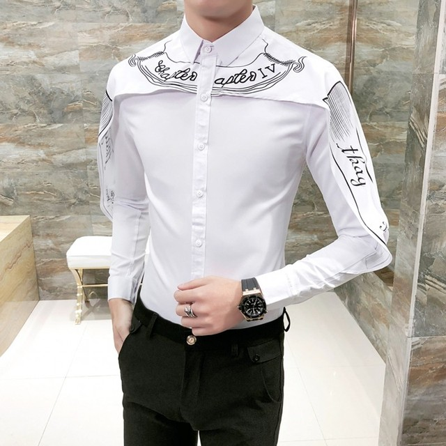 Men's Long Sleeve Tuxedo Shirts Black White