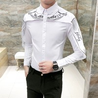 Hot Sale Shirt Men Korean Slim Fit Fashion Patchwork Mens Long Sleeve Tuxedo Shirts Brand Casual