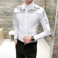 Hot Sale Shirt Men Korean Slim Fit Fashion Patchwork Mens Long Sleeve Tuxedo Shirts Brand Casual