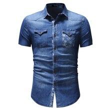 f1ef968945c20 2019 Yeni Camisa Masculina Erkekler Yapraklar Baskılı Cep Gömlek Için Kısa  Kollu denim gömlek Moda Rahat