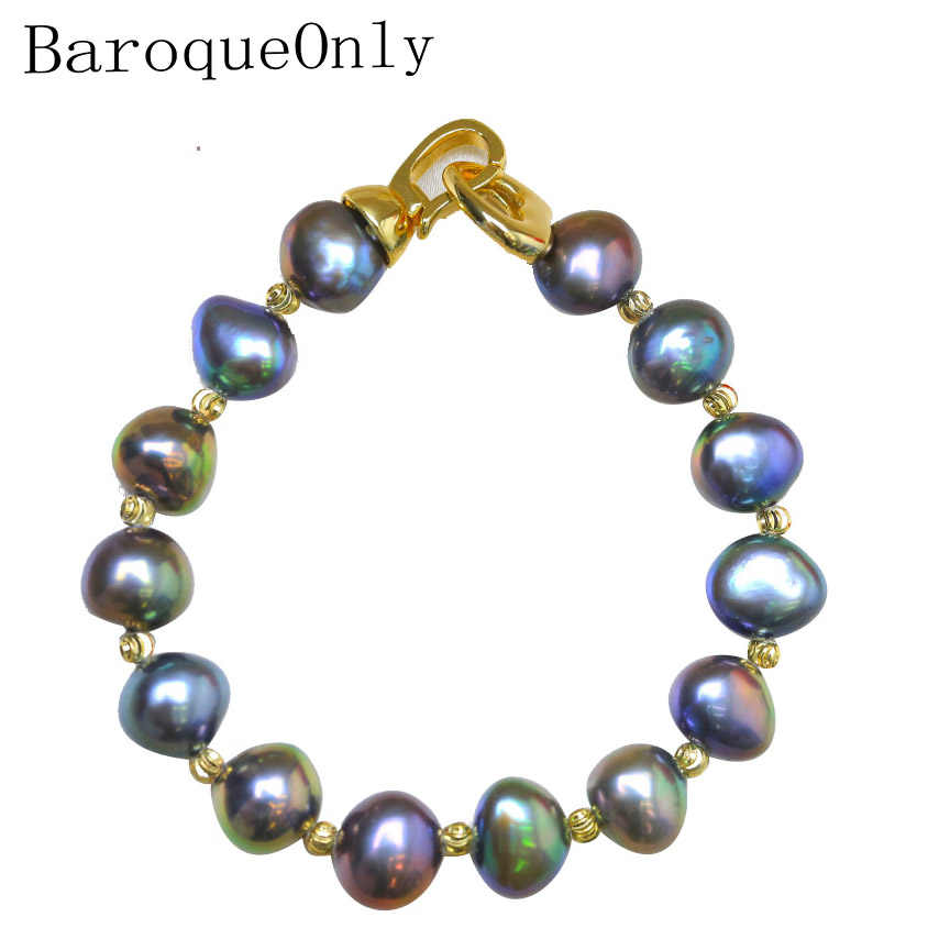 BaroqueOnly High Quality Natural Freshwater Pearl Bracelets HEART CLASP mixed-colour irregular Pearl Jewelry customizable