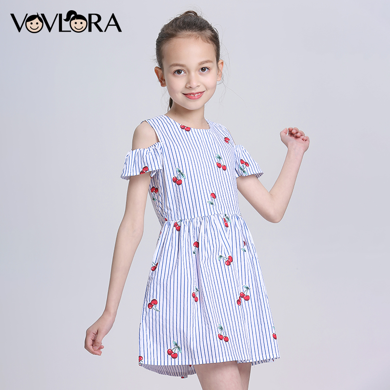 Cotton Short Sleeve Striped Baby Girls Dress Cute Cherry O Neck Girls Summer Dresses Children Clothes 2018 Size 4 5 6 7 8 Years hurave 2018 baby girls clothes children sleeveless crew neck mesh tutu dresses causal striped cotton infant lace shirts dress