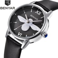 Benyar Luxury Brand Fashion Women Watches Ladies Quartz Leather Bee Watch Female Clock Female Relogio Feminino