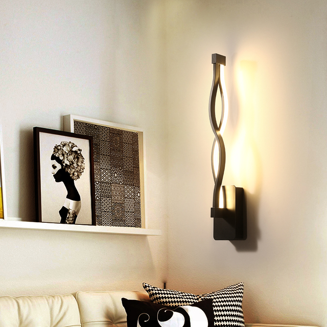 Wall Mounted Lights Living Room Best Paint Colours 2018 New Design Black White Led Bedroom Indoor Lamp Modern Home Lighting Lamparas
