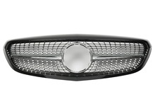 For Mercedes-Benz C-class W205 2014-on with Emblem Classic Style AMG Diamond Look Black/silver/chrome Front Grille