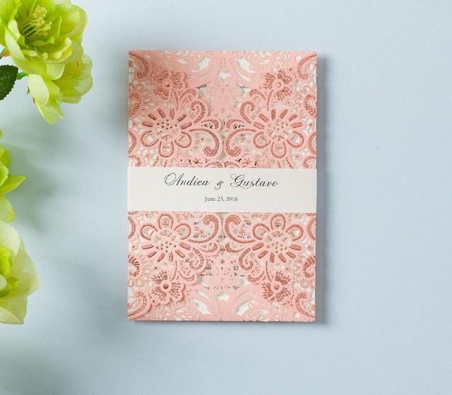 WISHMADE Elegant laser cut Blush Pink wedding invitation card hot