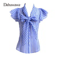 Dabuwawa Brand Female Office Shirts Short Sleeve Ladies Summer Blouse Stripes Women Ruffle Blouse Shirt Top