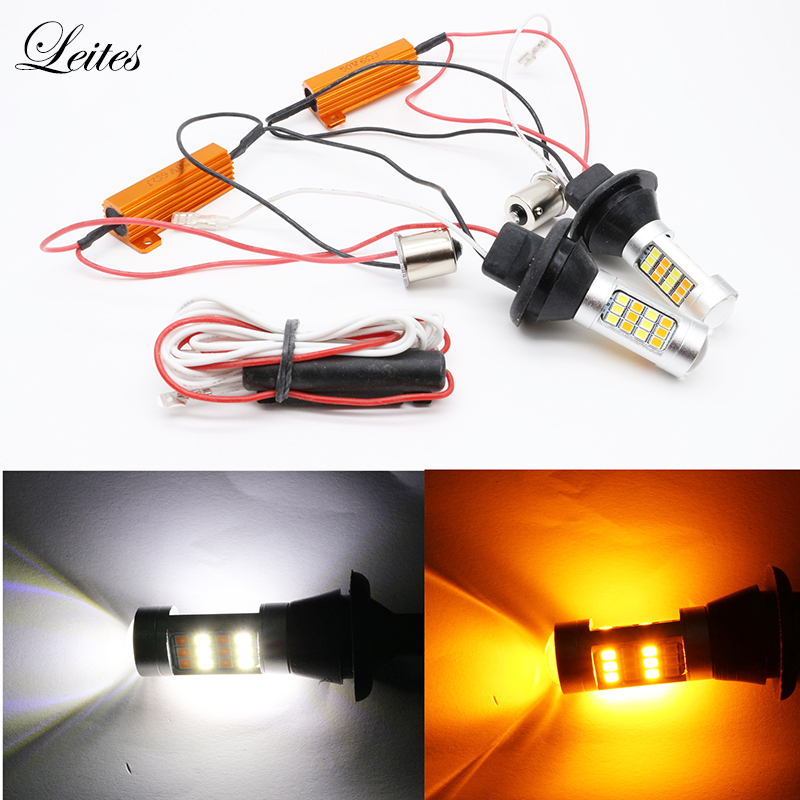 2pcs Dual Color Canbus LED 1156 BA15S 2835 42SMD White Amber with Resistors Car Turn Signal Lights Daytime Running Light DRL ijdm amber yellow error free 2835 led 1156 p21w led bulbs for car front or rear turn signal lights daytime running lights