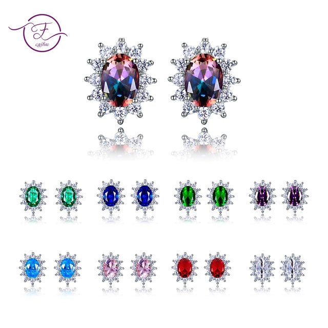 Amethyst Stud Earrings For Women Silver 925 Jewelry Snowflake Earring Hot Sale Wedding Engagement Party Gift 8 Colors 6x8MM