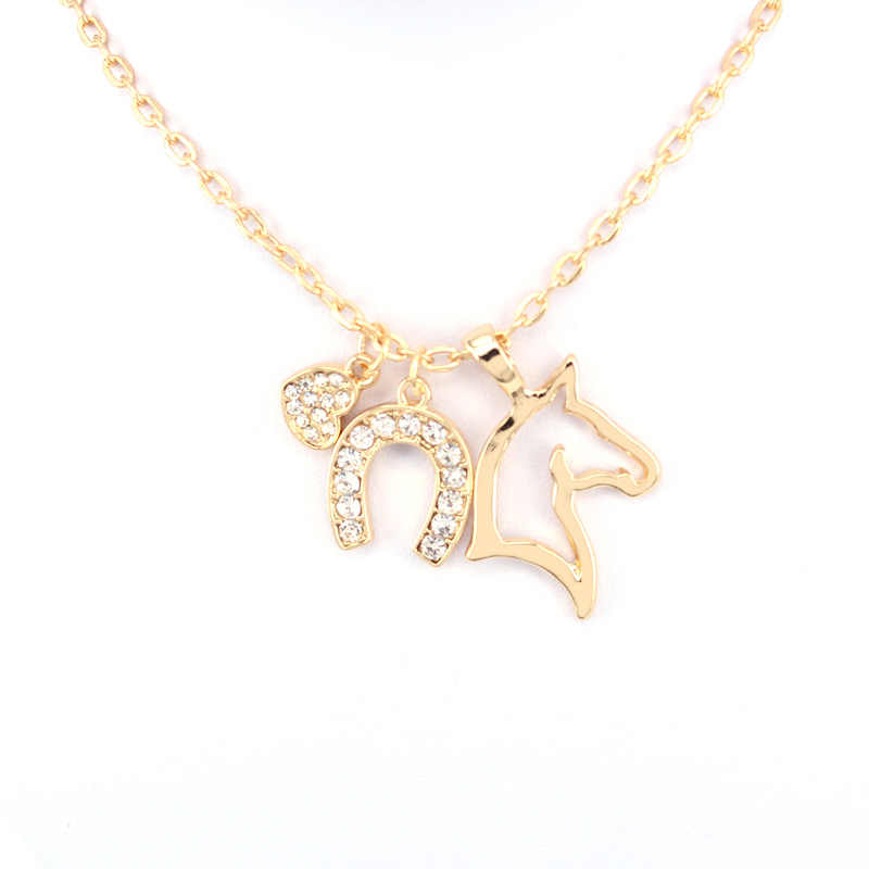hzew heat Horseshoe horse pendant necklace three pendant necklaces gift