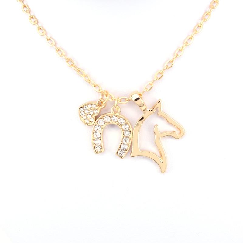 Hzew Тепловая подвеска-Подкова в виде лошади, три подвески ожерелье подарок