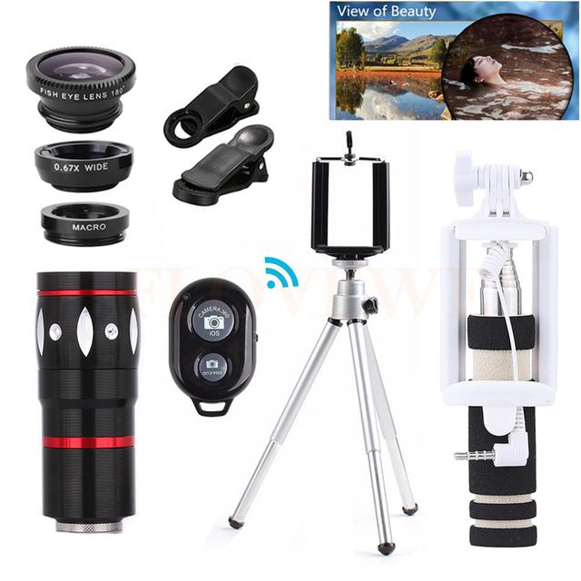Lente Da Câmera do telefone Zoom 10X Telefoto Lentes olho de Peixe Grande Angular Macro lentes com tripé clip holder para iphone 7 6 5 s xiaomi