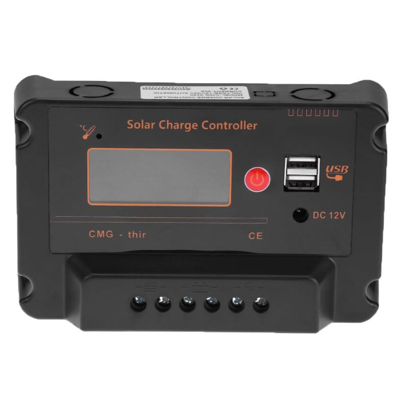 30A 12V/24V LCD Solar Charging Controller Solar Panel Charge Regulator Battery Controller USB Charger Overload Protection 45a pwm solar panel controller solar charge controller regulator 12v 24v battery charging for 1kw solar system