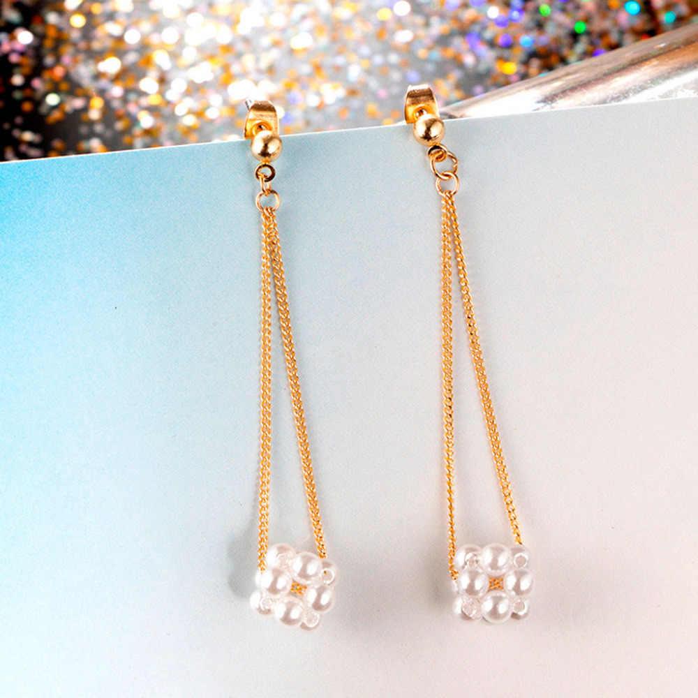 Unglaubliche Frauen Ohrringe Kleine Frische Perle Kette Blume Mode Schmuck Ohrringe Wertvolle Perle Legierung Ohrringe Schmuck Bijoux