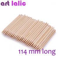 Artlalic 100 pièces nouveauté 114mm Long Nail Art Design Orange bois bâton cuticule poussoir dissolvant manucure soin ongles outils