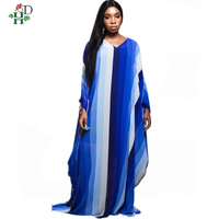 plus size african dresses for women long print stripe Elastic maxi dresses Bazin Printing robe femme africain Dashiki dress