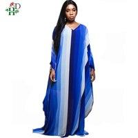 plus size african dresses for women long print stripe Elastic maxi dresses Bazin Printing robe femme africain Dashiki dress