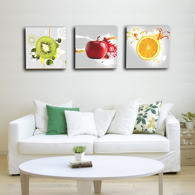 3 Panels Wandkunst Kuche Dekorative Obst Malerei Gedruckt Moderne