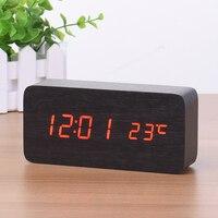 Wooden LED Digital USB Alarm Clock Temperature Kids Bedroom Electronic Sound Control Square Desktop Table Clock Decor 6NZ060