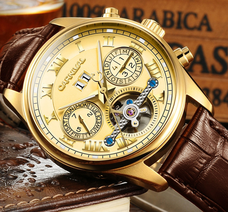 цена на Luxury Gilded Watch Men Automatic Self-Wind Sapphire Glass Tourbillon Hollow Dial Brown Leather Band Watches reloj relogio 5 ATM