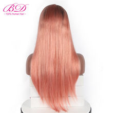 BD HAIR 1b/pink Ombre Straight Lace Front Human Hair Wigs Brazilian Virgin Hair Lace Front Wigs with Baby Hair(China)