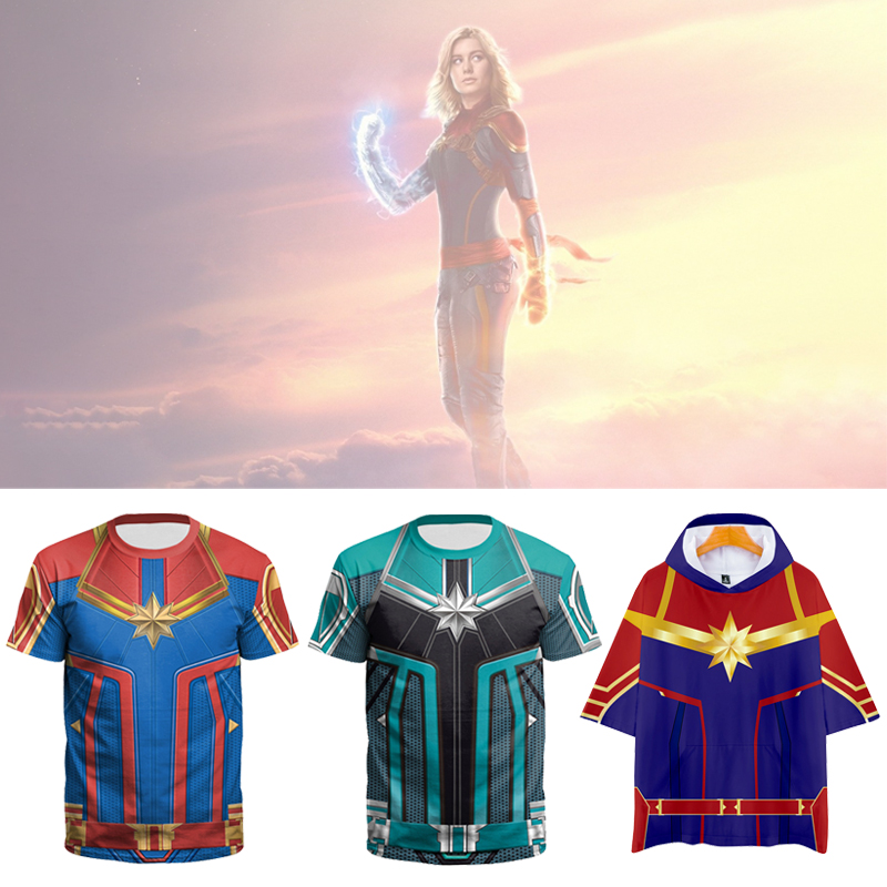 New Film Captain Marvel 3D Print Tshirt Males/girls Hiphop Streetwear Tremendous Heros T-shirt Male Feminine Informal T Shirt Clothes T-Shirts, Low cost T-Shirts, New Film Captain Marvel 3D Print...