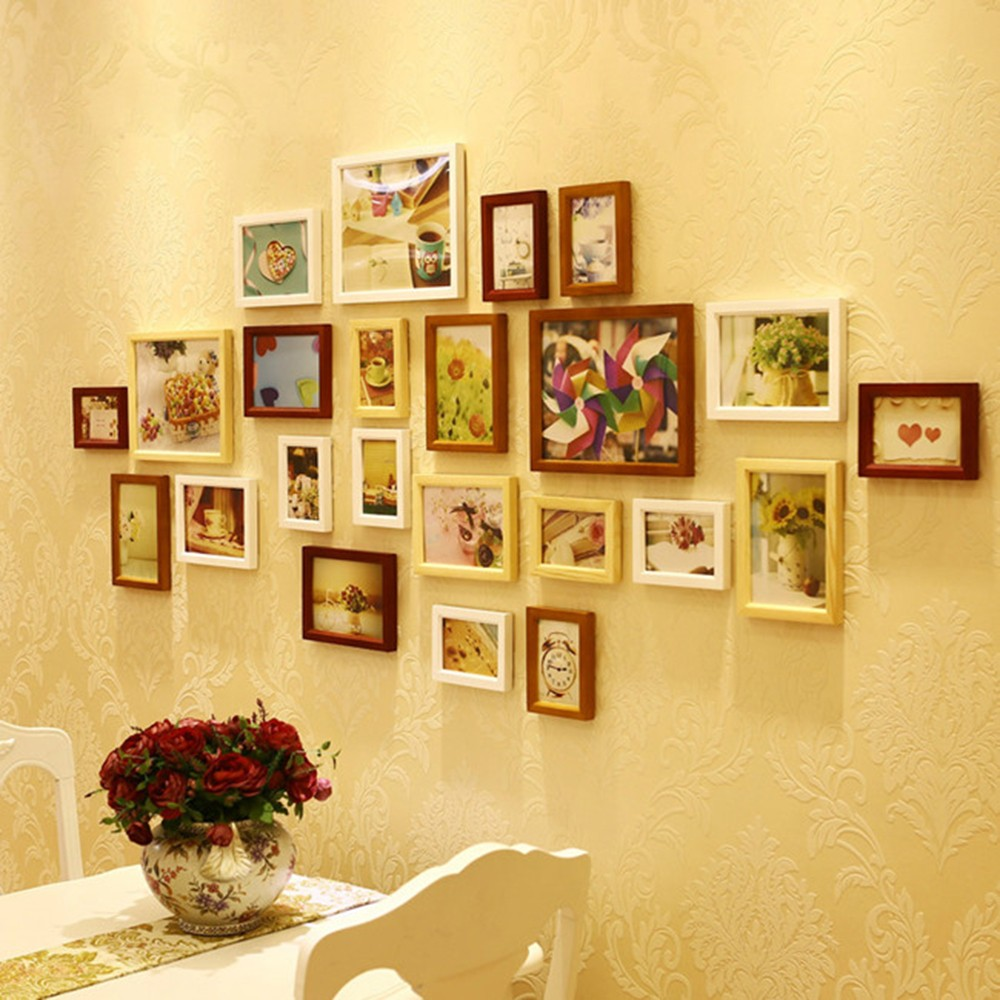 Wedding Photo Frame Wooden Base Art Hanging Wall Picture Album Diy 5 ...