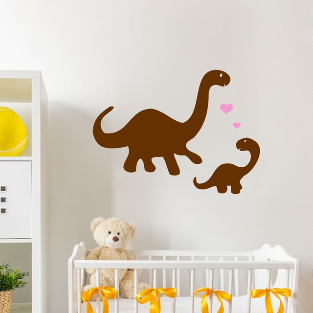 mommy and baby dinosaurs vinyl wall decal stickers ,dinosaur wall
