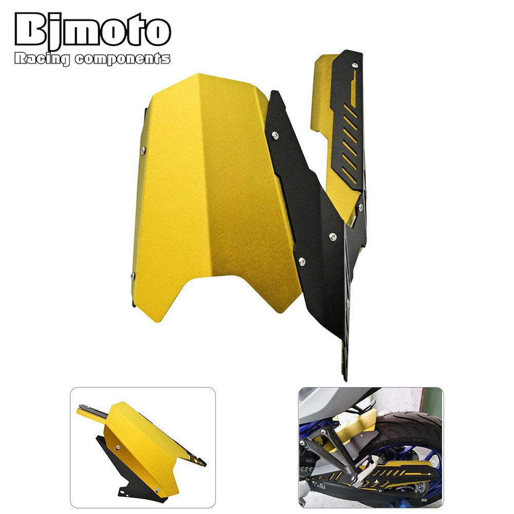 RF-YA004-GO Motorcycle CNC Rear Fender Dust Mudguard With Chain Guard Fairing Tire Wheel Hugger Protector For YAMAHA YZF R3 R25 motoo for yamaha mt07 mt 07 2013 2017 fz07 2015 2016 2017 cnc aluminum rear tire hugger fender mudguard chain guard cover