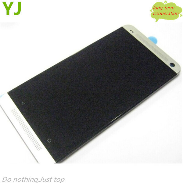 HK Free 100% tested White Front Housing LCD Assembly with Touch Screen Digitizer for HTC One M7 801e OEM