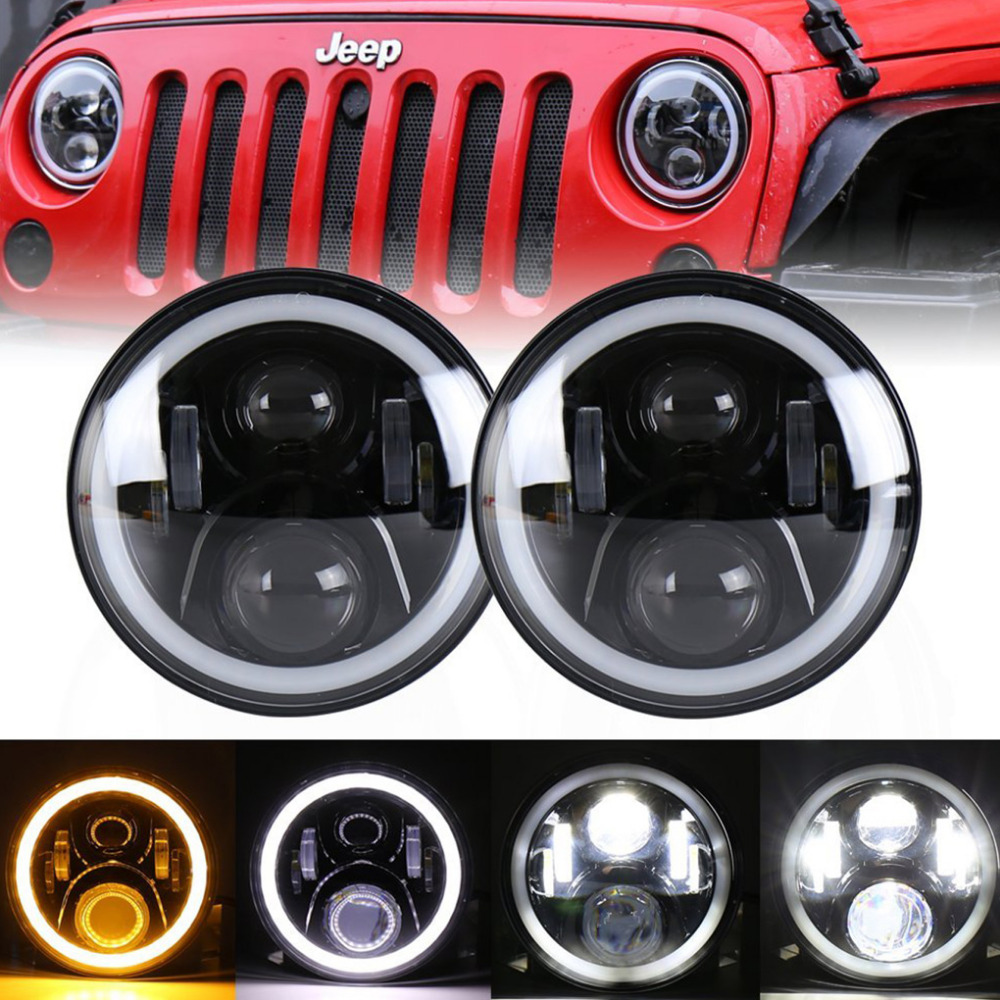 1 Pair 60W 7 Inch Round LED Headlight With White/ amber Turn Signal DRL For Jeep Wrangler Jk Tj Harley Davidson 1 pair 60w 7 inch round led headlight with white amber turn signal drl for jeep wrangler jk tj harley davidson