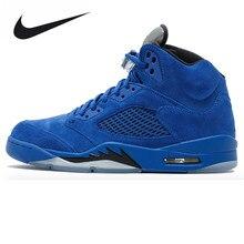 Nike Air Jordan 5 Bleu En Daim AJ5 Bleu En Daim Hommes de Basket-Ball  Chaussures Sneakers, d'origine Extérieure Confortable Spor.