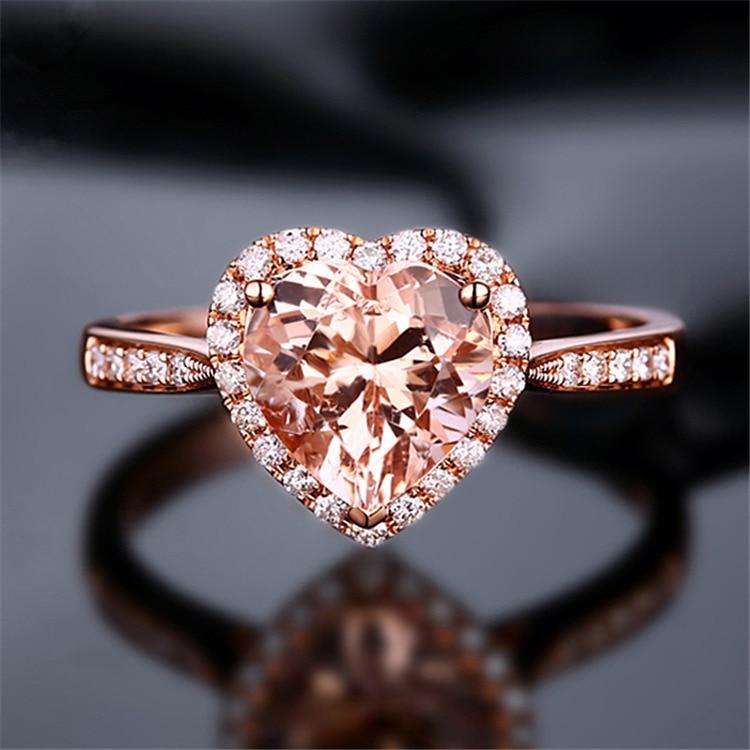 Luxury Wedding Party Zircon Crystal Heart Ring Korean Fashion
