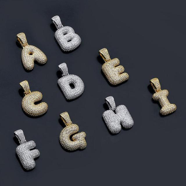 Cubic Zircon Letters Pendant Necklaces 8