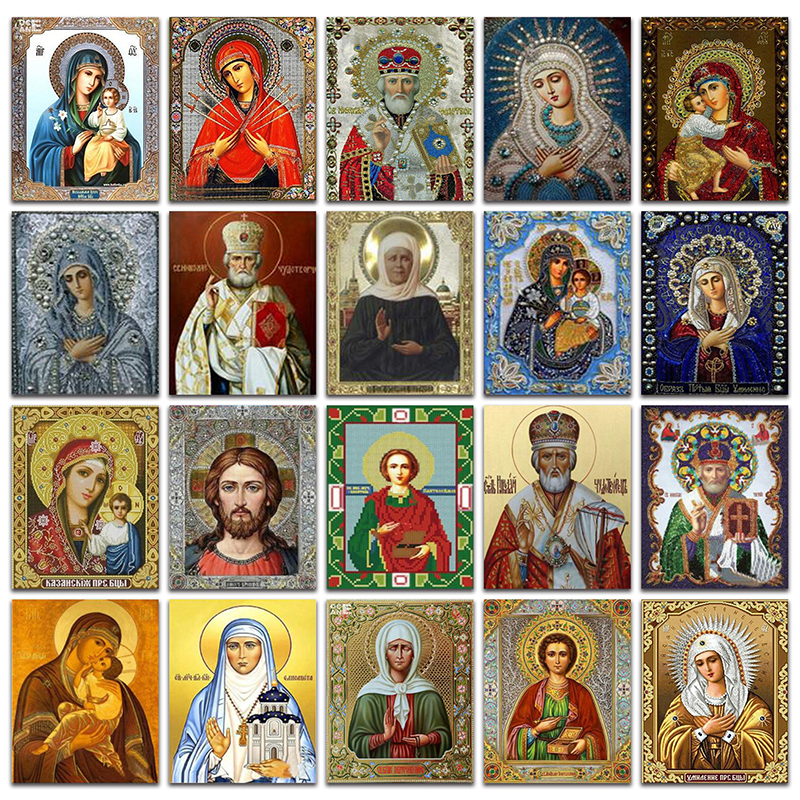 Rhinestone Painting Embroidery Cross-Stitch Diamond Mosaic Religious Icon Square Classic-Style