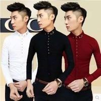 Free Shipping Korean Fashion Men White Long Sleeve Shirt Slim Fit Spring Autumn British Stylist Business