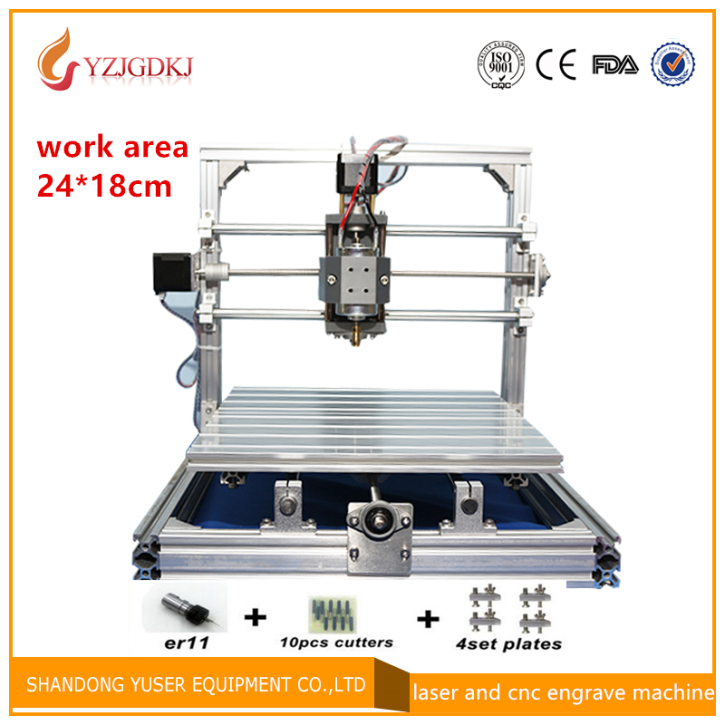CNC2418 diy cnc engraving machine 0.5w-5.5w mini Pcb Pvc Milling Machine, Metal Wood Carving machine, cnc router, GRBL control cnc 1610 with er11 diy cnc engraving machine mini pcb milling machine wood carving machine cnc router cnc1610 best toys gifts