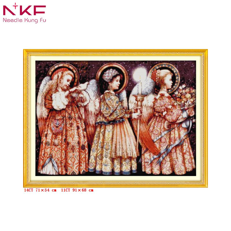 Christmas Eve angels DIY embroidery sets chinese cross stitch needlework kits 14 counted print on canvas Baby room cotton fabric