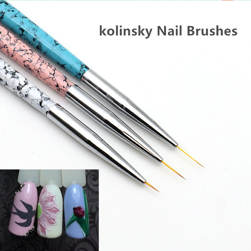 Kolinsky Nail Art Brushes Supper Thin Paint Brush Set 3pcs Liner Pens Metal Handle Gel Polish Manicure Painting Drawing Tools