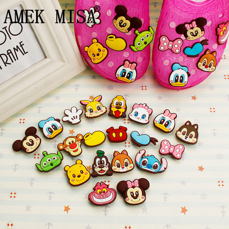 15Pcs/Lot PVC Cartoon Shoe Decorations Kawaii Mickey Minnie Shoe Charms Accessories Fit Children's Gifts/Croc/Wristband/JIBZ D36