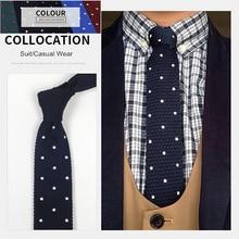 Fashion Skinny  Mens Knit Ties Formal Suit Dress Slim Necktie Casual Coat Tie Dot Blue Gift for Men Wedding PartyTie
