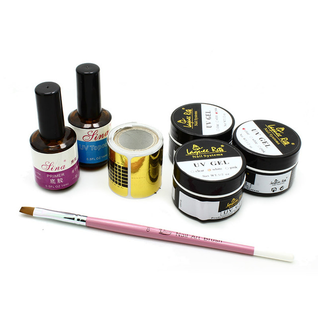7Pcs professional makeup set including clear white pink uv gel,top coat nail gel,primer base gel,nail brush For Nail Art